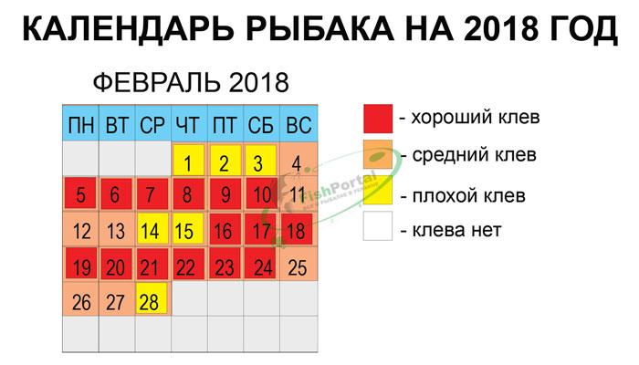 Лунный календарь рыболова на февраль 2018 года фото график изображение